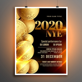 Elegante plantilla de volante o póster de celebración de feliz año nuevo