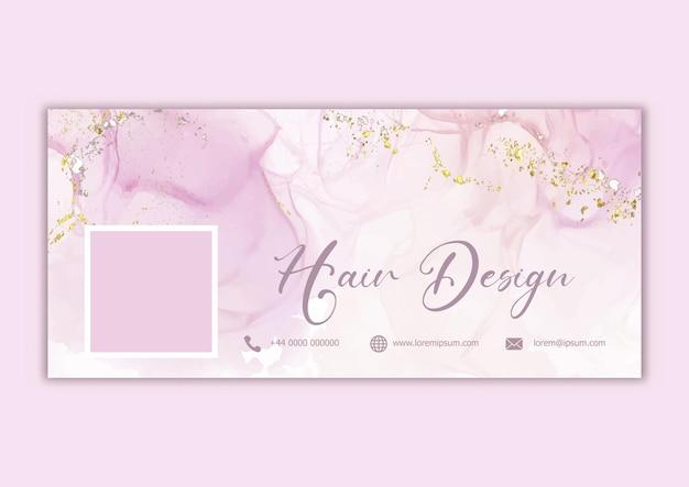 Elegante portada de facebook con diseño de acuarela pintado a mano con elementos de purpurina