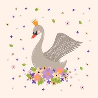 Elegante princesa cisne con corona