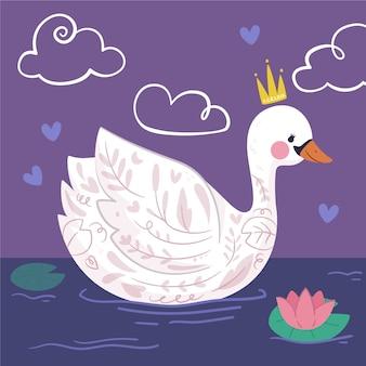 Elegante princesa cisne en el lago