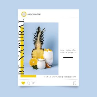 Elegante publicación de instagram de comida minimalista