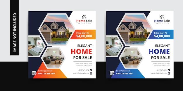 Elegante publicación de redes sociales en el hogar inmobiliario
