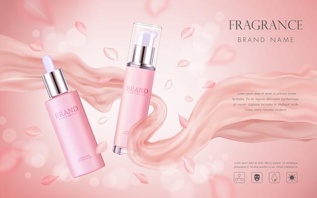 Elegante publicidad cosmética con pétalos de flores rosas y textura de seda