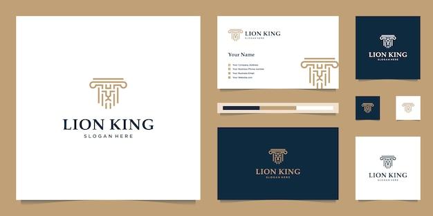 Elegante rey león con elegante diseño gráfico y logotipo de diseño de inspiración de tarjeta de presentación