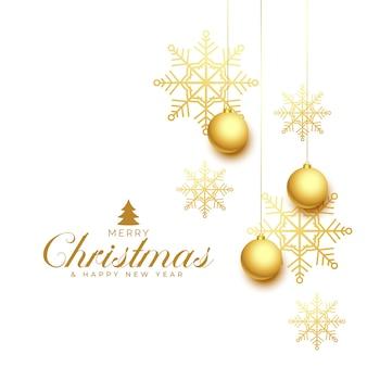 Elegante saludo de feliz navidad con copos de nieve dorados y adorno.