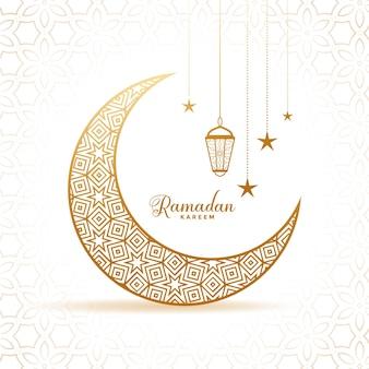 Elegante saludo de luna y linternas decorativas de ramadan kareem