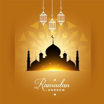 Elegante saludo de la mezquita de ramadan kareem