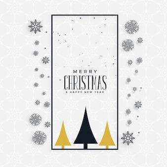 Elegante saludo navideño con copos de nieve y árbol.