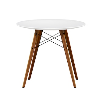 Elegante silla blanca con patas de madera taburete moderno de cocina
