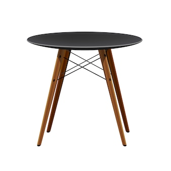 Elegante silla negra con patas de madera taburete moderno de cocina