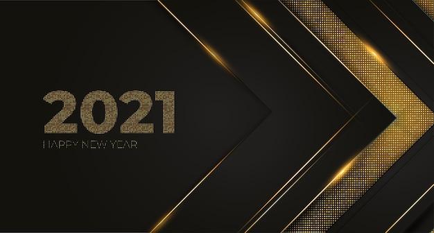 Elegante tarjeta de año nuevo con fondo de puntos dorados