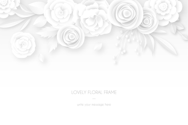 Elegante tarjeta blanca con decoración floral blanca