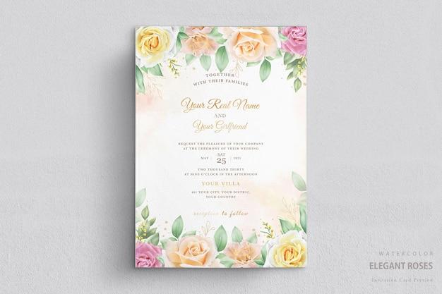 Elegante tarjeta de boda floral acuarela
