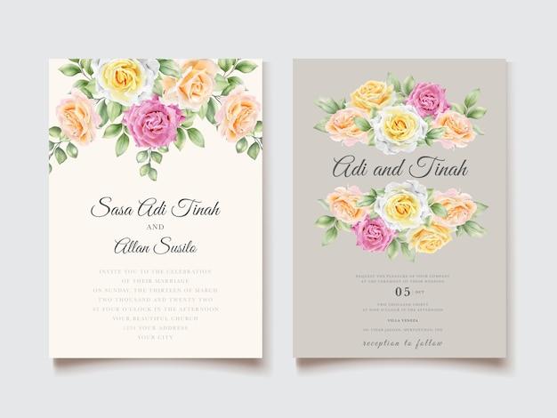 Elegante tarjeta de boda floral dibujada a mano