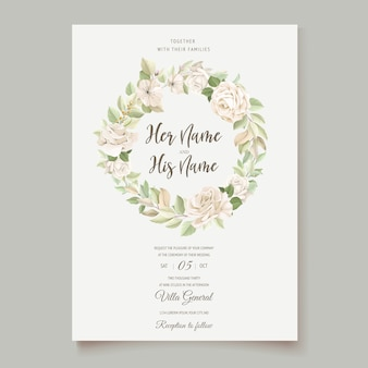 Elegante tarjeta de boda con hermosa plantilla floral y hojas