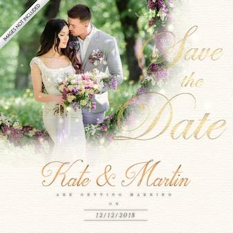 Elegante tarjeta de invitación de boda con efecto de iluminación real