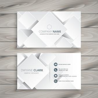 Elegante tarjeta de visita blanca con formas 3d