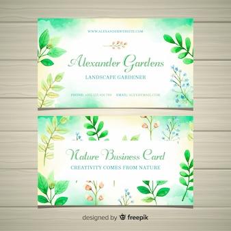 Elegante tarjeta de visita con concepto de naturaleza