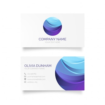 Elegante tarjeta de visita con logotipo azul
