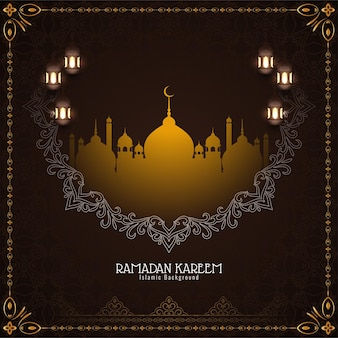 Elegante tarjeta decorativa del festival ramadán kareem con mezquita
