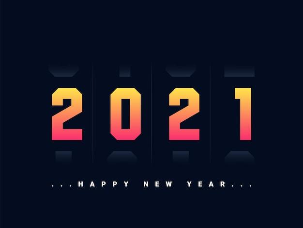 Elegante tarjeta de felicitación de feliz año nuevo 2021