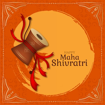 Elegante tarjeta de felicitación de maha shivratri con damru