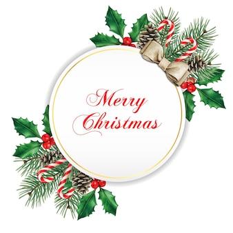 Elegante tarjeta de felicitación navideña redonda blanca