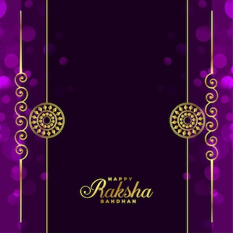 Elegante tarjeta de felicitación púrpura raksha bandhan