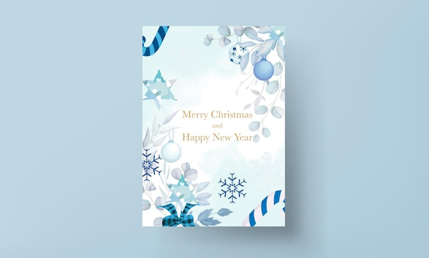 Elegante tarjeta de feliz navidad con adorno navideño blanco