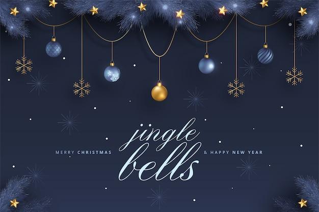 Elegante tarjeta de feliz navidad y año nuevo con adornos azules y dorados
