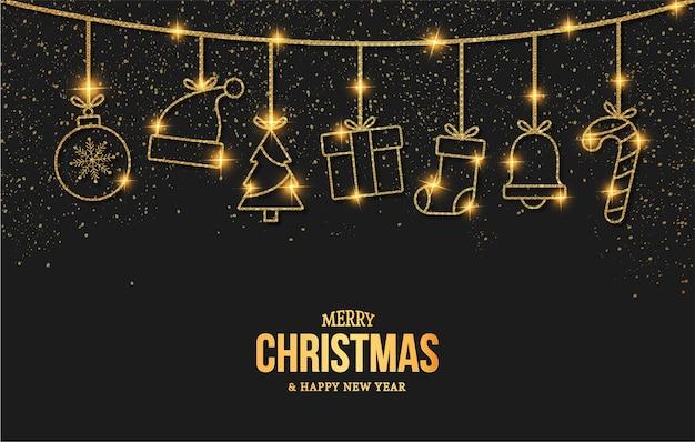 Elegante tarjeta de feliz navidad y año nuevo con iconos de objetos dorados de navidad