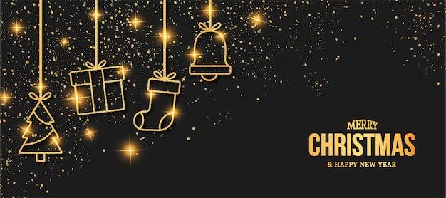 Elegante tarjeta de feliz navidad con iconos dorados de navidad