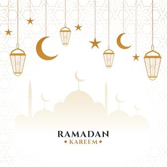 Elegante tarjeta festiva decorativa ramadan kareem