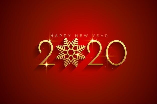 Elegante tarjeta de fondo rojo y oro feliz año nuevo 2020