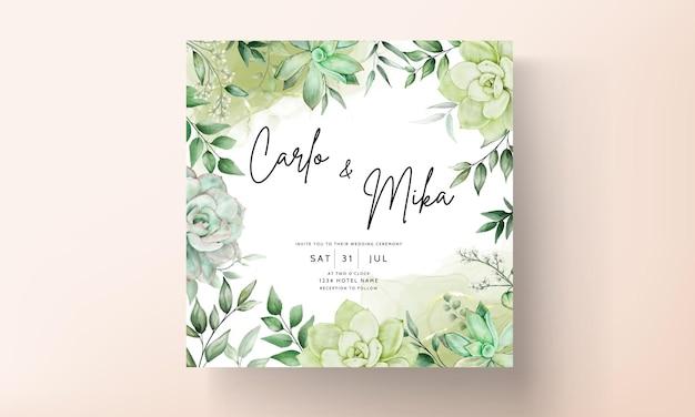 Elegante tarjeta de invitación de boda floral acuarela verde