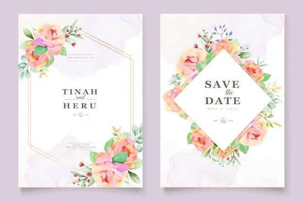 Elegante tarjeta de invitación de boda floral acuarela