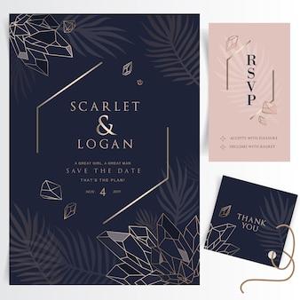 Elegante tarjeta de invitación de boda floral con cristales.