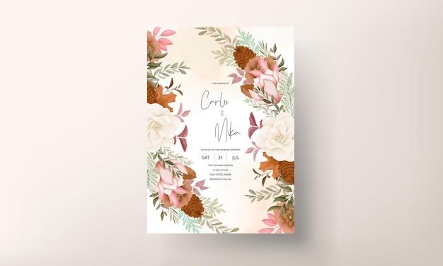Elegante tarjeta de invitación de boda floral dulce dibujada a mano