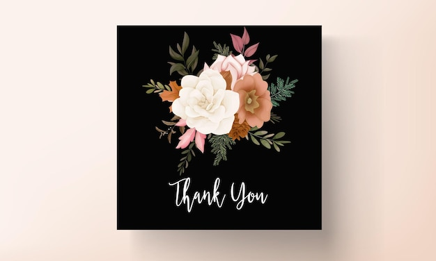 Elegante tarjeta de invitación de boda floral otoñal con flor de rosa y pino