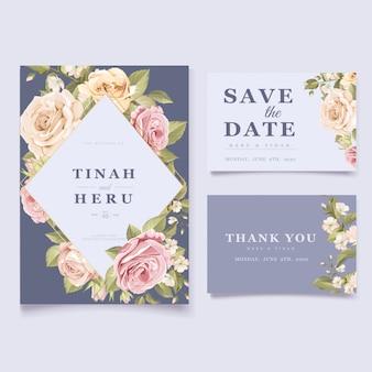 Elegante tarjeta de invitación de boda floral