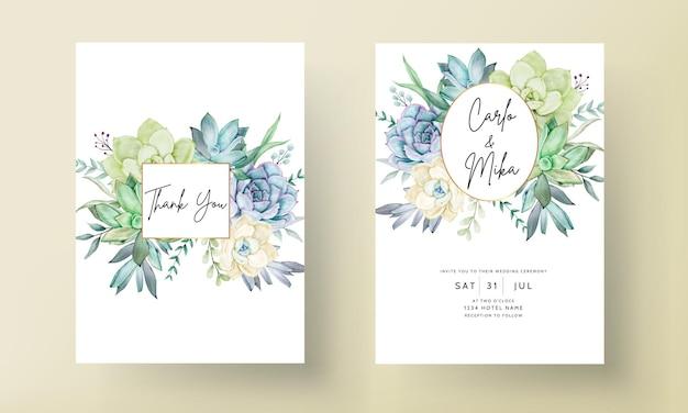 Elegante tarjeta de invitación de boda con hermosa flor suculenta acuarela