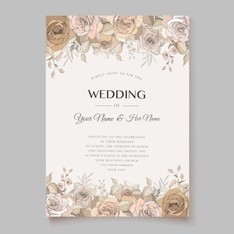 Elegante tarjeta de invitación de boda con hermosa plantilla floral y hojas