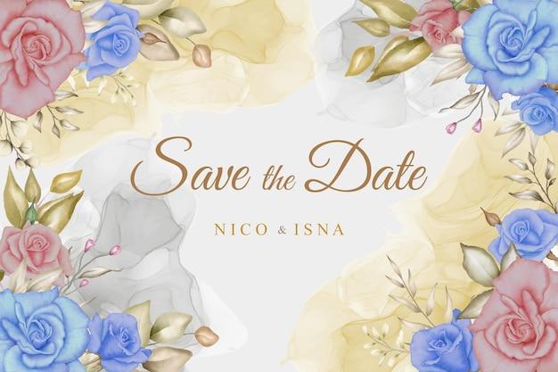 Elegante tarjeta de invitación de boda con hermosas flores y hojas de acuarela