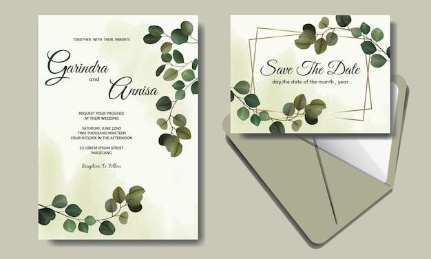 Elegante tarjeta de invitación de boda con hermosas hojas de eucalipto plantilla premium vector