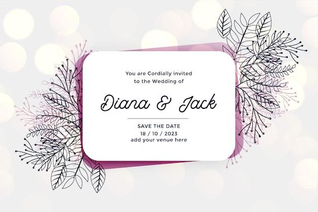 Elegante tarjeta de invitación de boda con hojas y flores de línea.