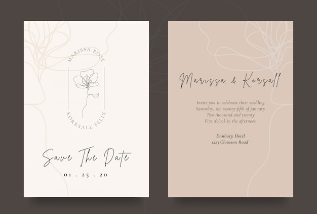 Elegante tarjeta de invitación de boda con el logotipo de la flor fresca