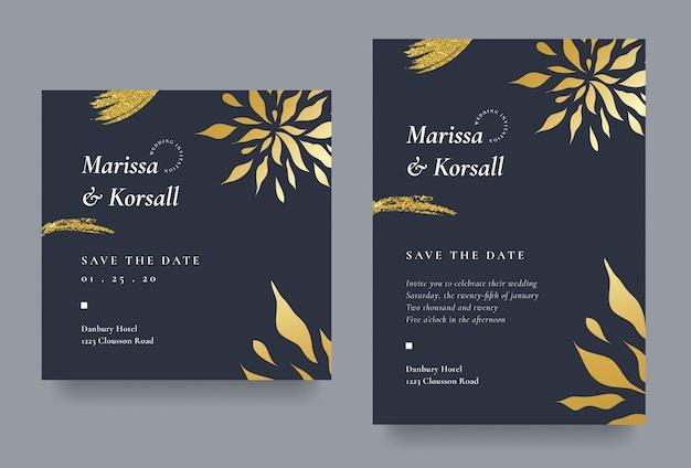 Elegante tarjeta de invitación de boda con pincel de purpurina y flores doradas