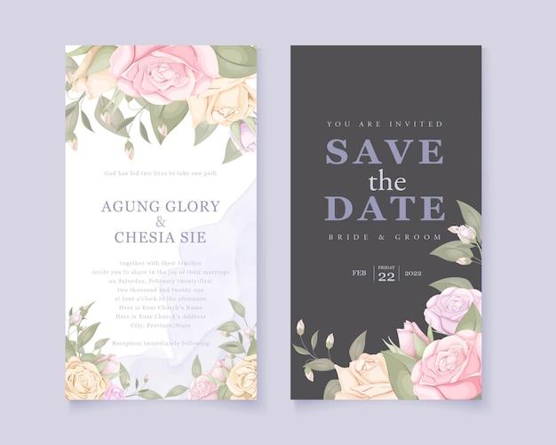 Elegante tarjeta de invitación de boda con rosas y hojas