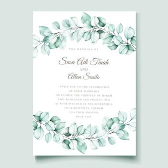 Elegante tarjeta de invitación de eucalipto acuarela