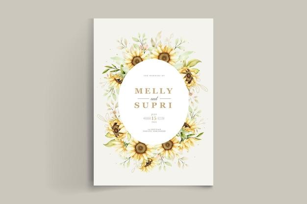 Elegante tarjeta de invitación de girasol acuarela